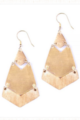 Brushed Brass Stacked Earrings
