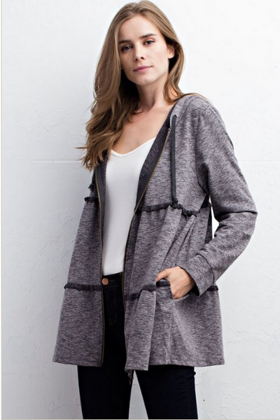 Tiered Charcoal Tunic Jacket