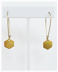 Hexagon Filled Brass Earrings