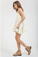 Yellow Embroidered Slip Dress