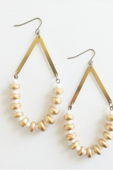 Faceted Ivory + Brass Earrings