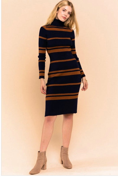 Rusted Navy Turtleneck Dress