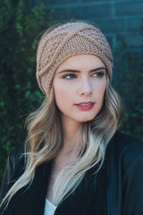 Taupe Cable Knit Headwrap