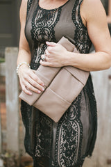 Taupe Roll Up Leather Clutch