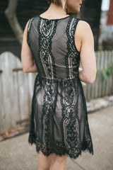 Vintage Midnight Lace Dress