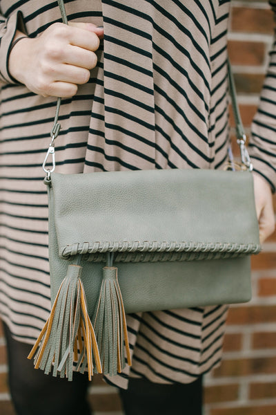 Olive Tassel Clutch Purse