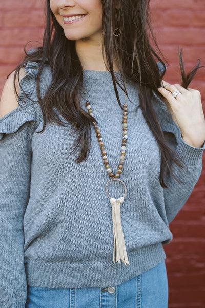Agate + Leather Tassel Necklace