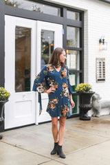 Vintage Blues Floral Dress