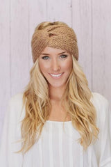 Knitted Taupe Winter Headwrap