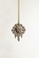 Crochet + Brass Taupe Necklace