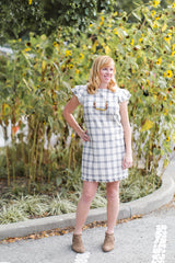 Plaid Flutter Sleeve Dress