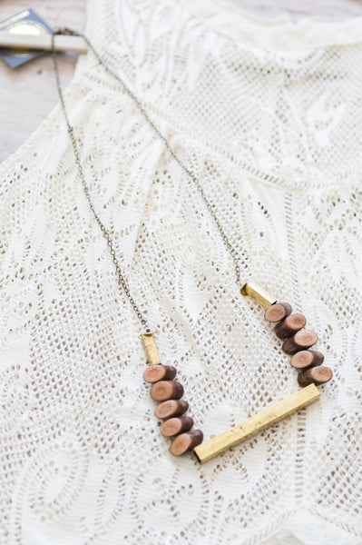 Wood Slice + Gold Bar Necklace