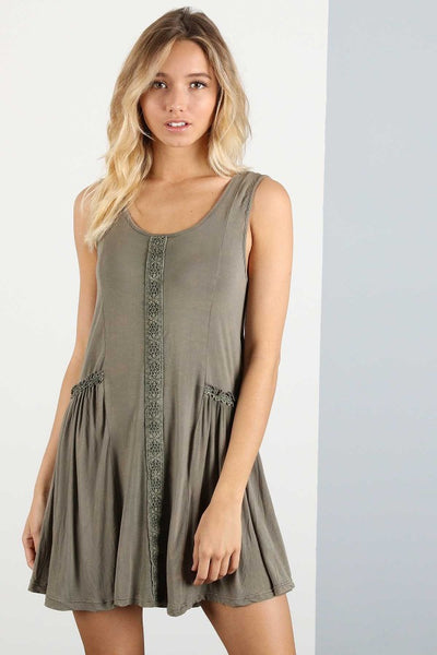Olive Relaxed Crochet Dress