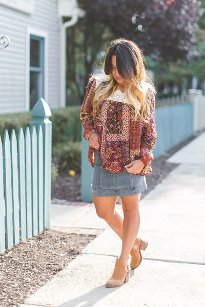 Quilted Autumn Eyelet Blouse