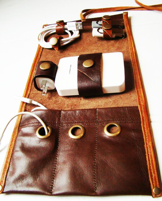 Leather Power Bank Sleeve or Travel Cord Wrap
