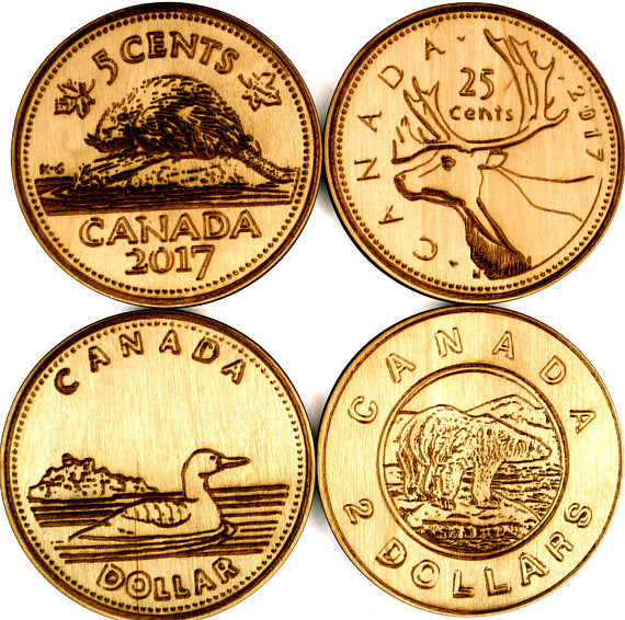 Canadian Coins Wood Coasters