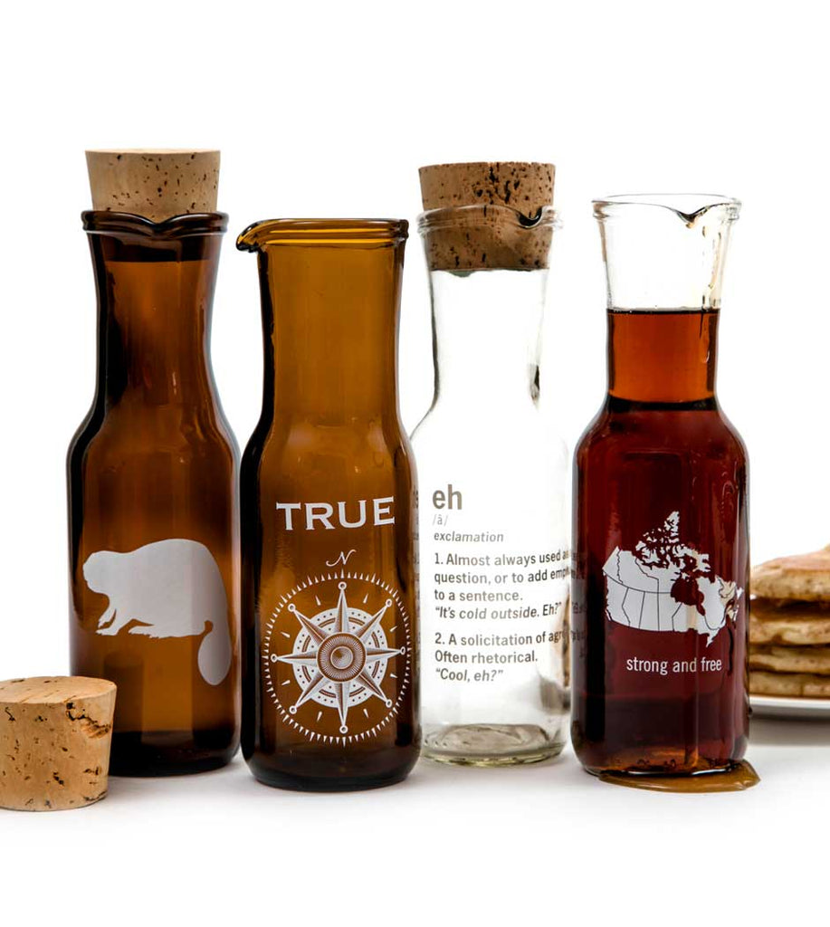 Recycled Beer Bottle Maple Syrup Carafe