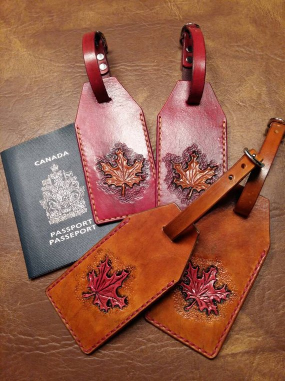 Maple Leaf Leather Luggage Tag