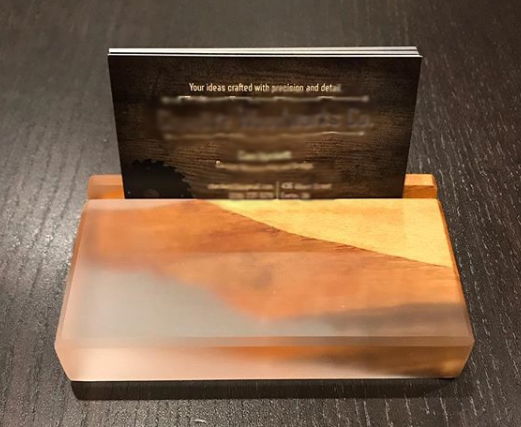 Wood & Epoxy Business Card Holders