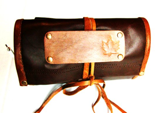 Leather Cable Organizer Travel Case