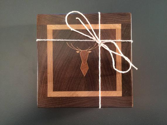 Pair of Two Toned Wood Coasters