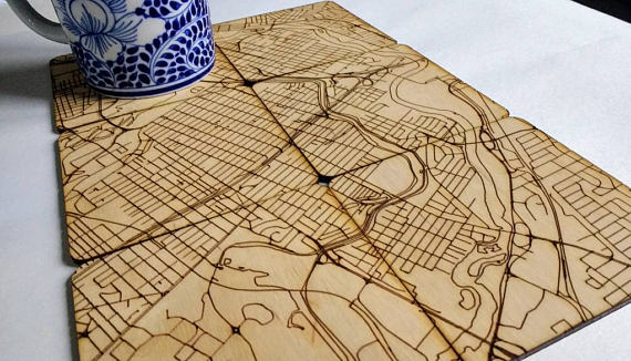 Downtown Ottawa Map Puzzle Wood Coasters*