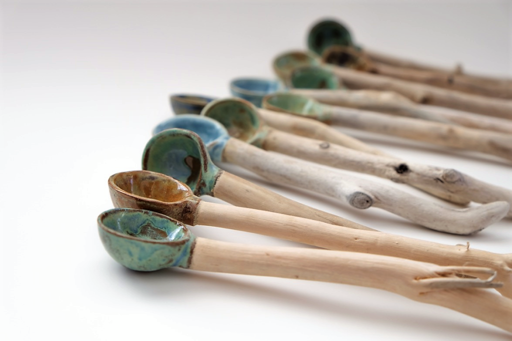 Driftwood and Ceramic Salt/Sugar Spoons