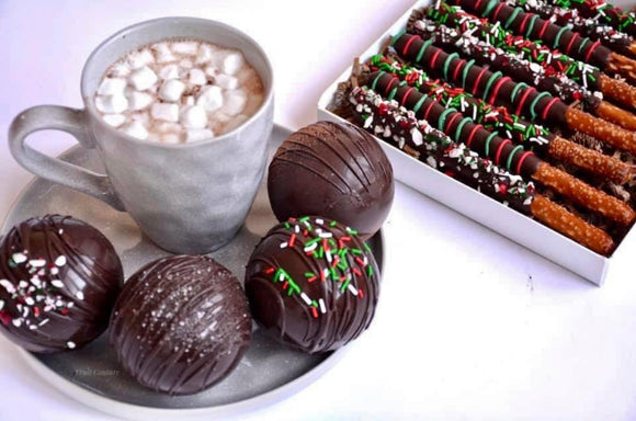 Holiday Pretzel Rods & Jumbo Hot Chocolate Bombs