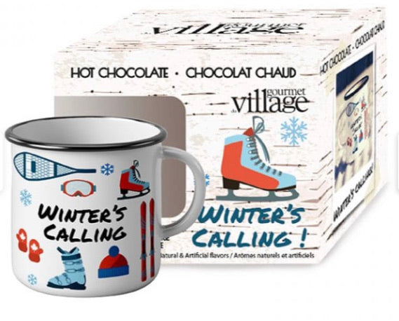 Ceramic Winter Theme Mug with A Single Pouch of Maple Hot Chocolate
