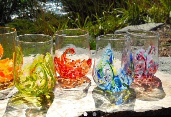 Stemless Handblown Custom Made Glasses