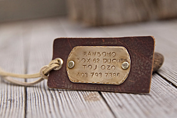 Brass & Leather Hand Stamped Luggage Tag