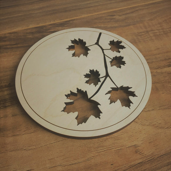 Maple Leaf Cut Out Wood Desk Coaster
