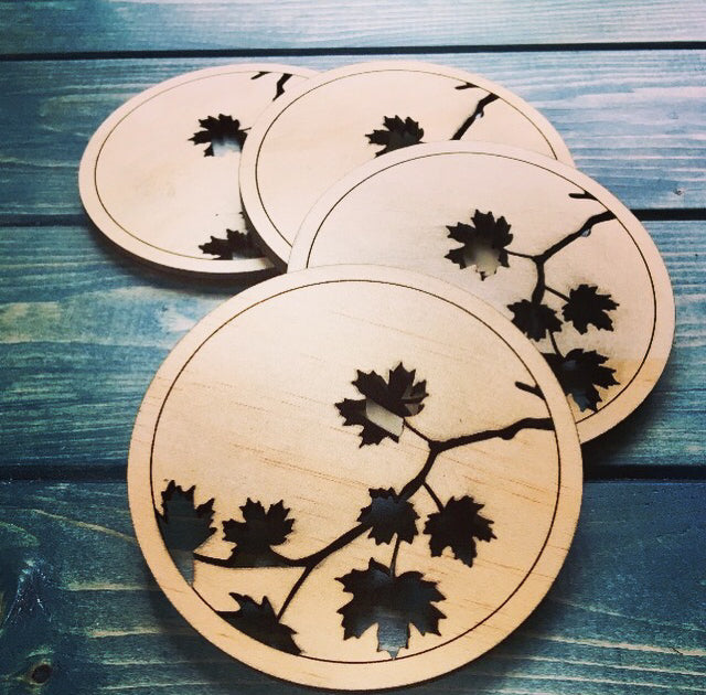 EDMONTON - Wood Maple Leaf Coasters (set of 4)