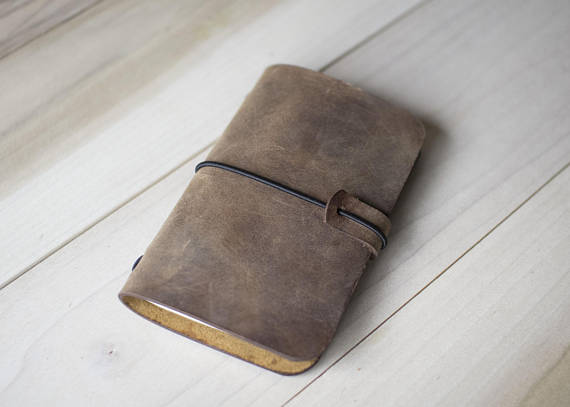 Personalized Midori Style Leather Notebook