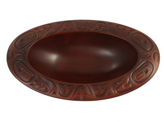 Hand Carved Indigenous Design Oval Bowl (Runners Up Gifts)