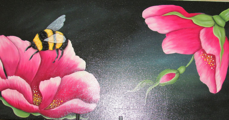 Pink Floral & Bee - Hint of Honey by Helen Sawyer
