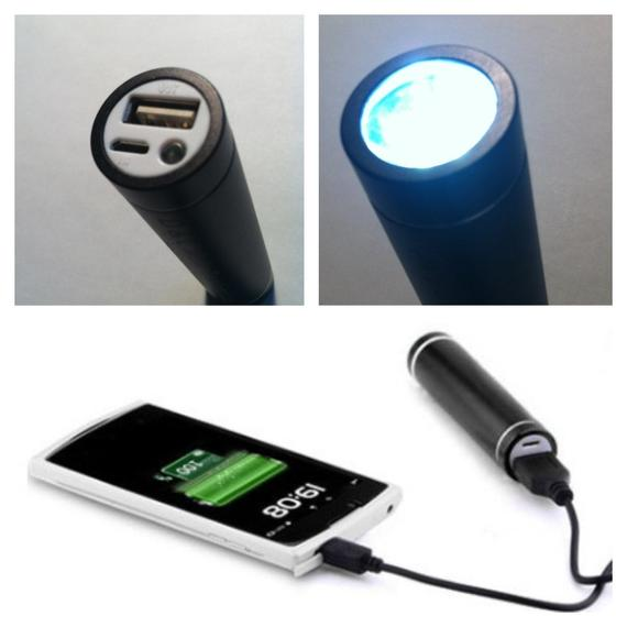 Cylinder Power Bank with LED Flashlight