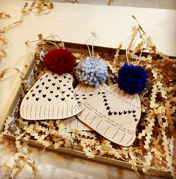 Toque Ornaments with Pom Pom