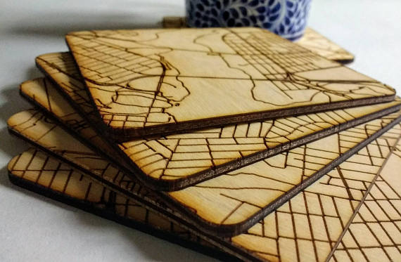 Downtown Map Puzzle Wood Coasters