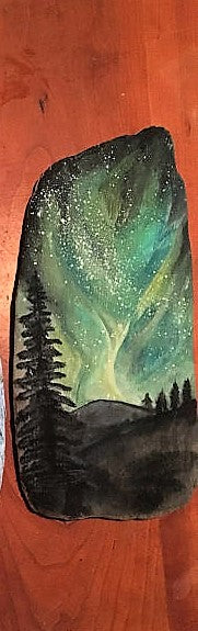 Northern Lights Painting on Wood