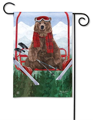 Ski Lift Bear Premium Garden Flag