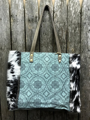 Floral Turquoise Canvas Tote