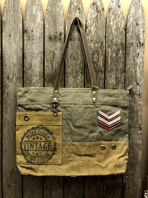 Military Badge Canvas Tote