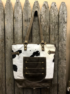 Half n' Half Leather Tote