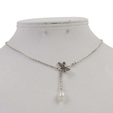 Antiqued Silver Dragonfly Necklace with Earrings