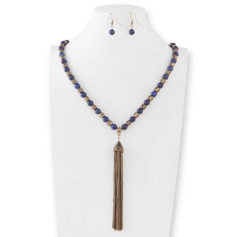 Burnished Gold and Blue Stone with Tassel Necklace