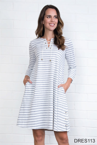 Simply Noelle Lace-Up Striped Dress