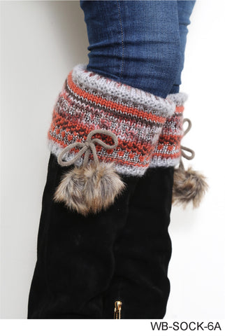 Alpine Tall Boot Socks with Fur Pom Pom