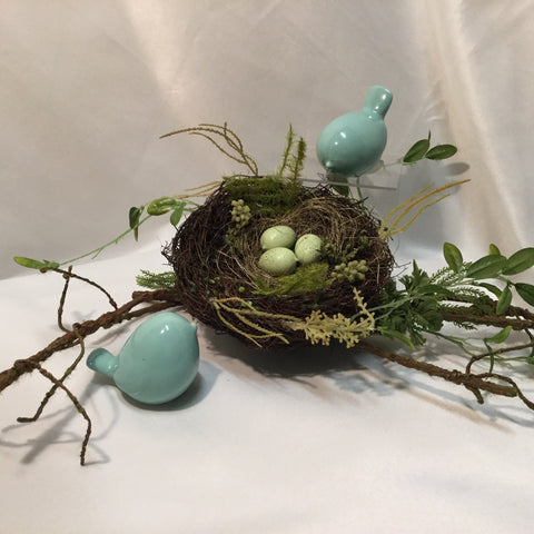 "6.5"" bird nest with eggs"