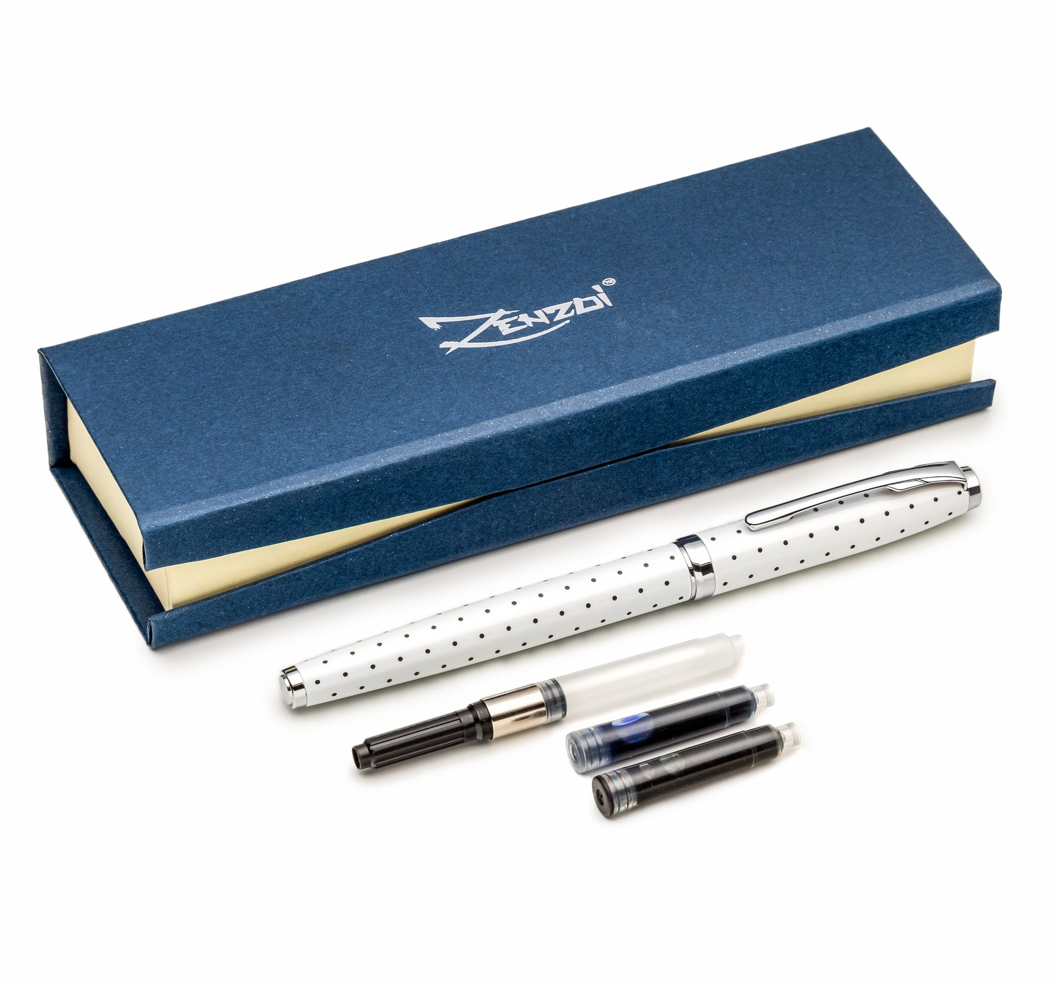White Dotted Fountain Pen Set with Schmidt Fine Nib - Gift Pen Set (1 Ink Converter + 2 Ink Refills)